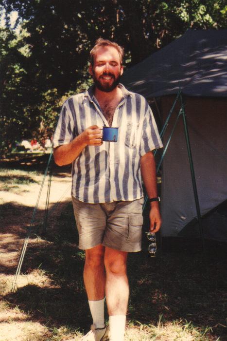 Jeffrey Lee Hatcher at Maasai Mara in 1990 with Explore Mara, Ltd via a semester at St. Lawrence University.