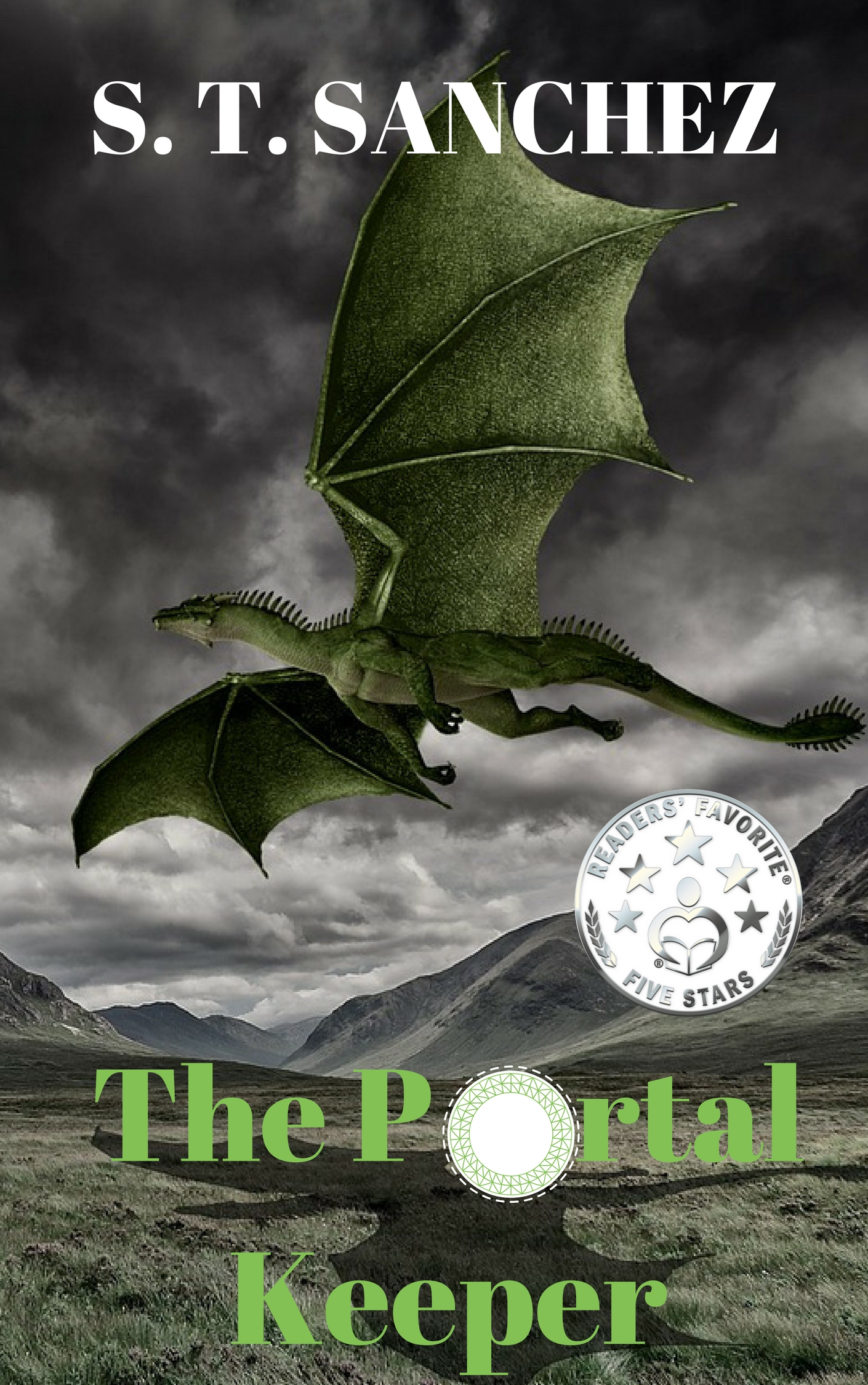 "The cover art for ""The Portal Keeper"" by Sarah Sanchez depicting a dragon."