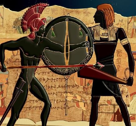 Greek and Egyptian soldiers from the book cover of The Atlantis Papyrus by Jay Penner