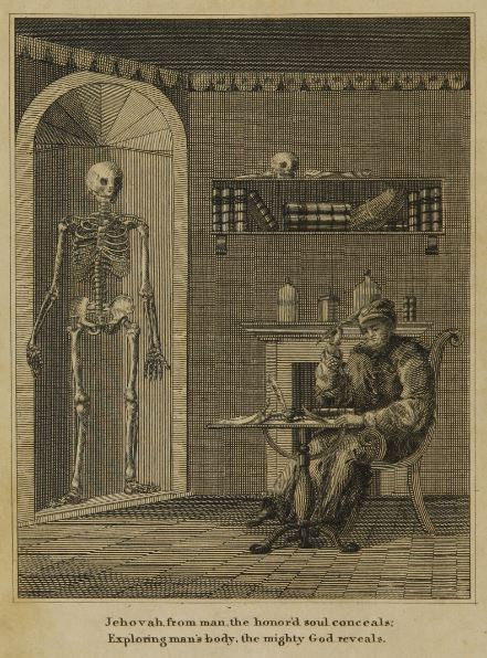 Doctor writing medical literature in a spooky laboratory with skeleton.