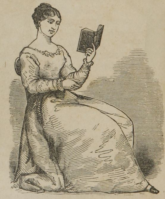 "Woman reading from ""A treatise on anatomy, physiology, and hygiene"" 1858"