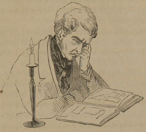Man reading by candlelight. James Redfield 1849 Outlines of a new system of physiognomy