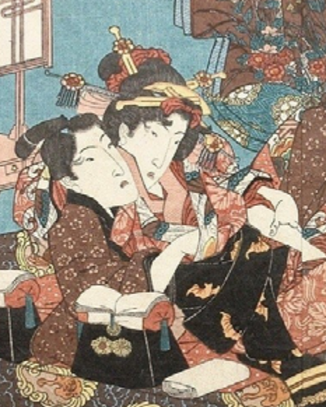 cut away of painting of adolescents having sex by Japanese artist Keisai Eisen