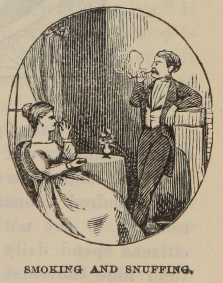 man smoking and a woman pinching snuff