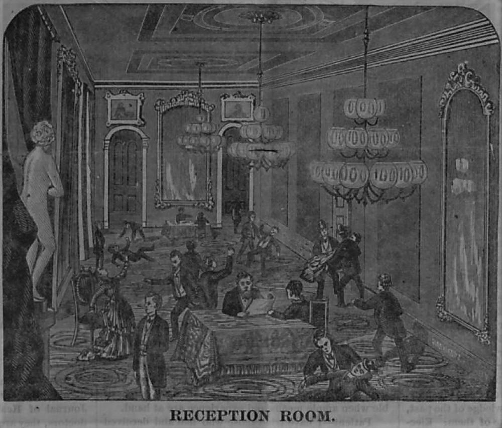 stigmatizing picture of epileptic patients having seizures in a hospital lobby c.1875.
