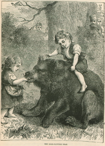 children playing with a bear