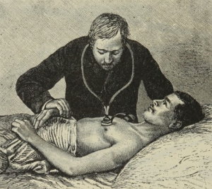 Doctor listening to patient's chest with stethyscope